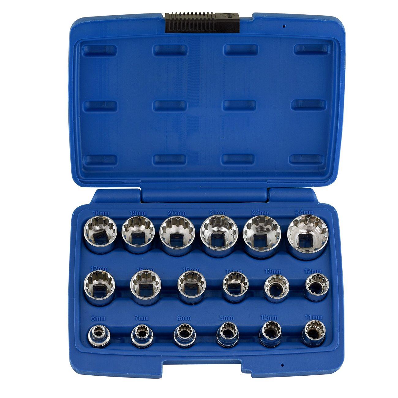 Neiko 02489A Drive Universal Spline Socket Set (19 Piece), 1/2' 1/2 Ridgerock Tools Inc.