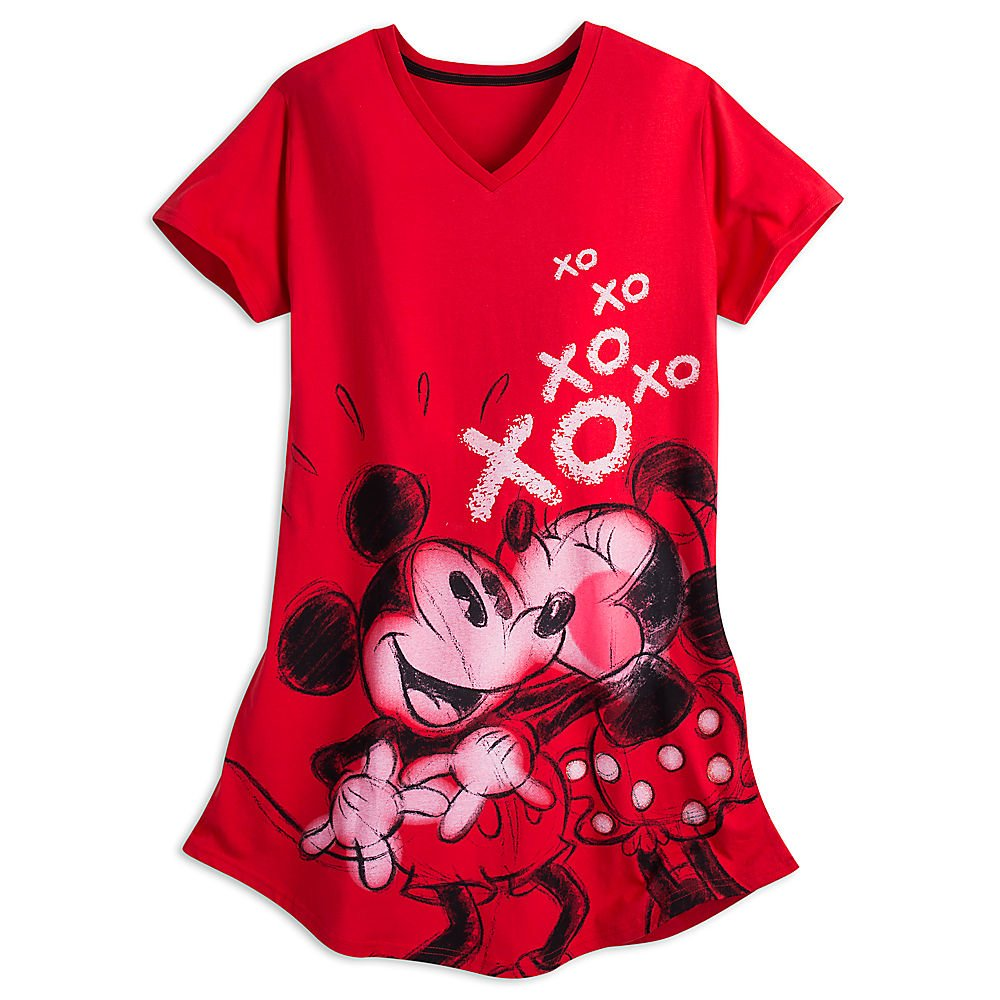 Disney Mickey and Minnie Mouse Nightshirt for Women Red