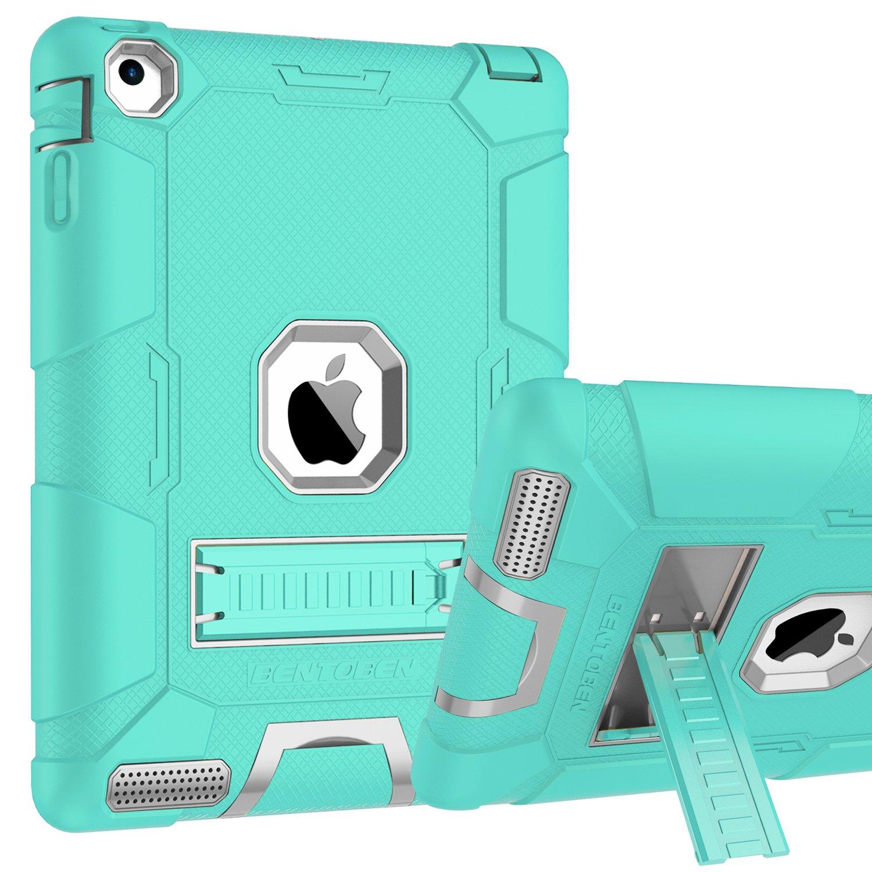 iPad 2 Case, iPad 3 Case, iPad 4 Case, BENTOBEN Heavy Duty Shockproof Kickstand Anti-slip 3 in 1 Full-body Rugged Soft Rubber Hard PC Protective Case for iPad 2 / 3 / 4 9.7 inch, Mint Green/Light Gray