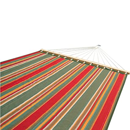 Slack Jack Quilted Fabric Hammock (Green, Brown, Yellow and Red)
