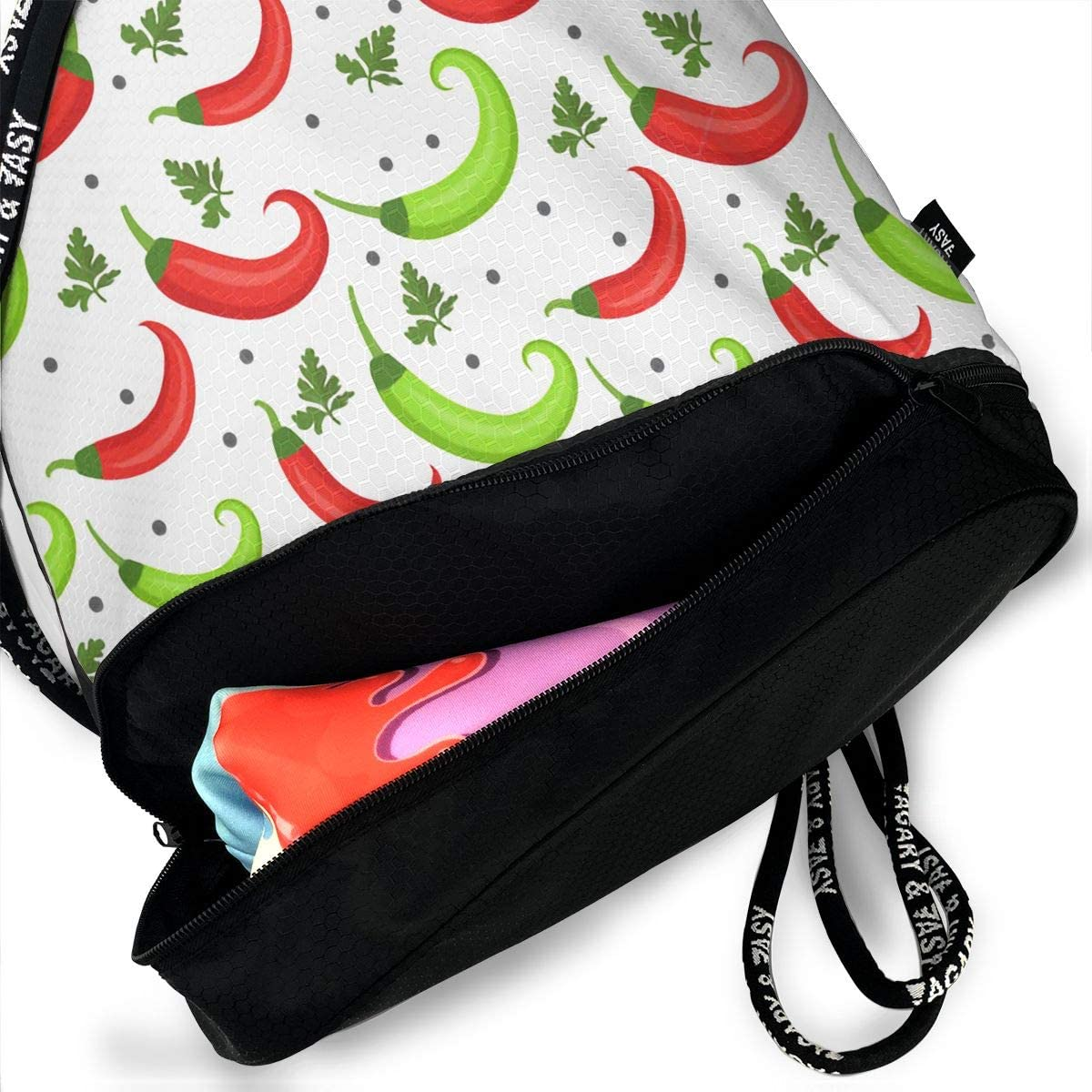 Drawstring Backpack Chilli Hot Pepper Gym Bag