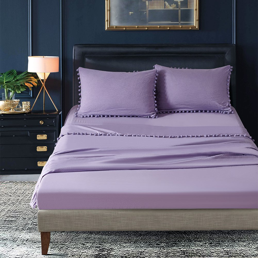 Stone Washed Microfiber Soft Lavender Bed Sheet Set