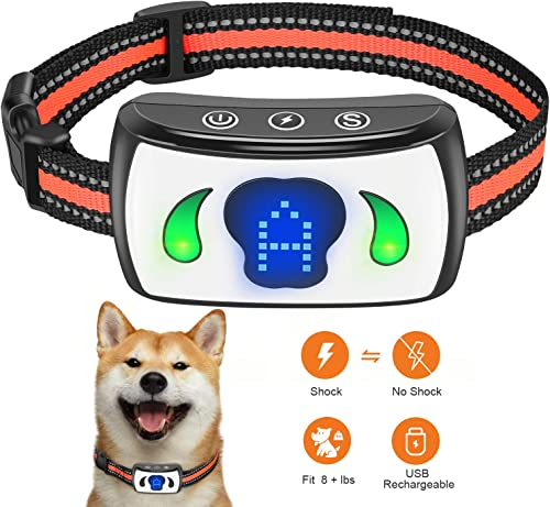 Pet Manka Dog Bark Collar 4 Adjustable Sensitivity and Intensity Levels-Dual USB Rechargeable,Humane,Waterproof Training Collars with LED Indicator for Small Medium Large Dogs