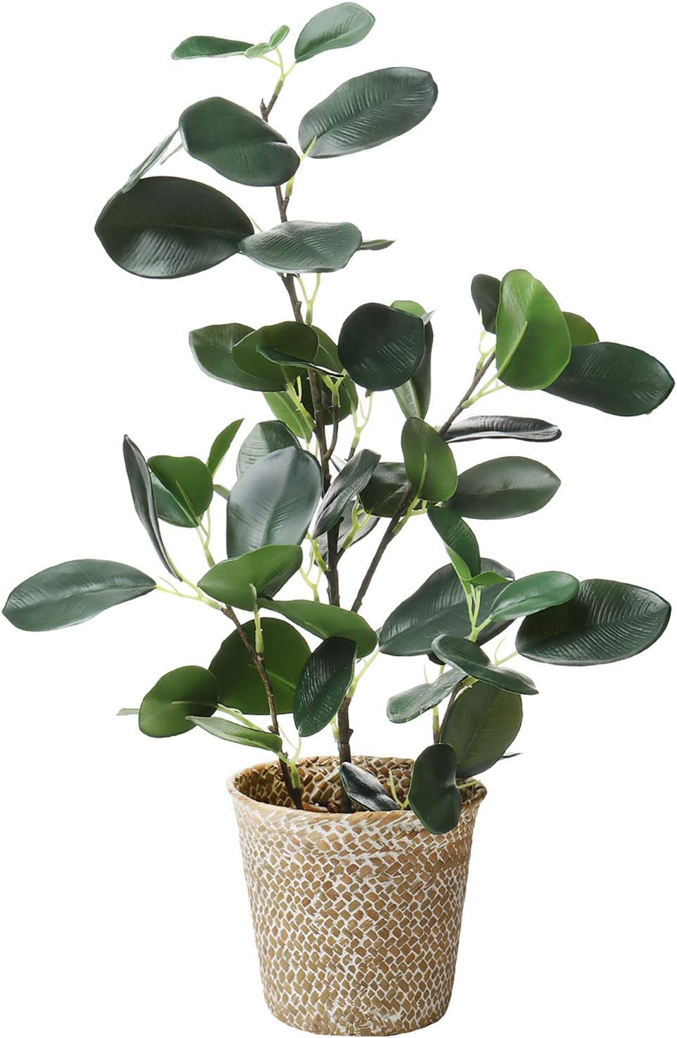 "SAROSORA Artificial Ficus Tree Fake Plants in Weaved Pot 20"" Height for Living Room Decor Indoor Home Office Ins Style (Green, 1)"