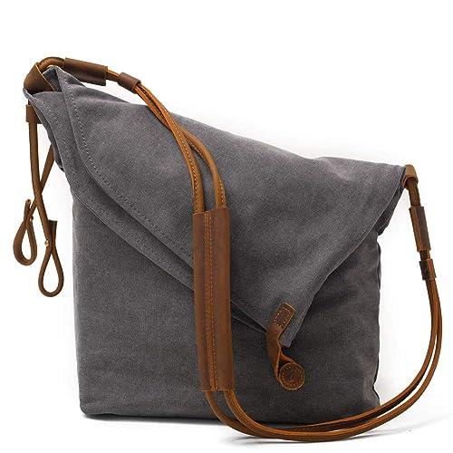 4b749fb15d40 Kemy's Canvas Travel Crossbody Bags for Women Vintage Over the Shoulder  Body Bag Traveling Satchel