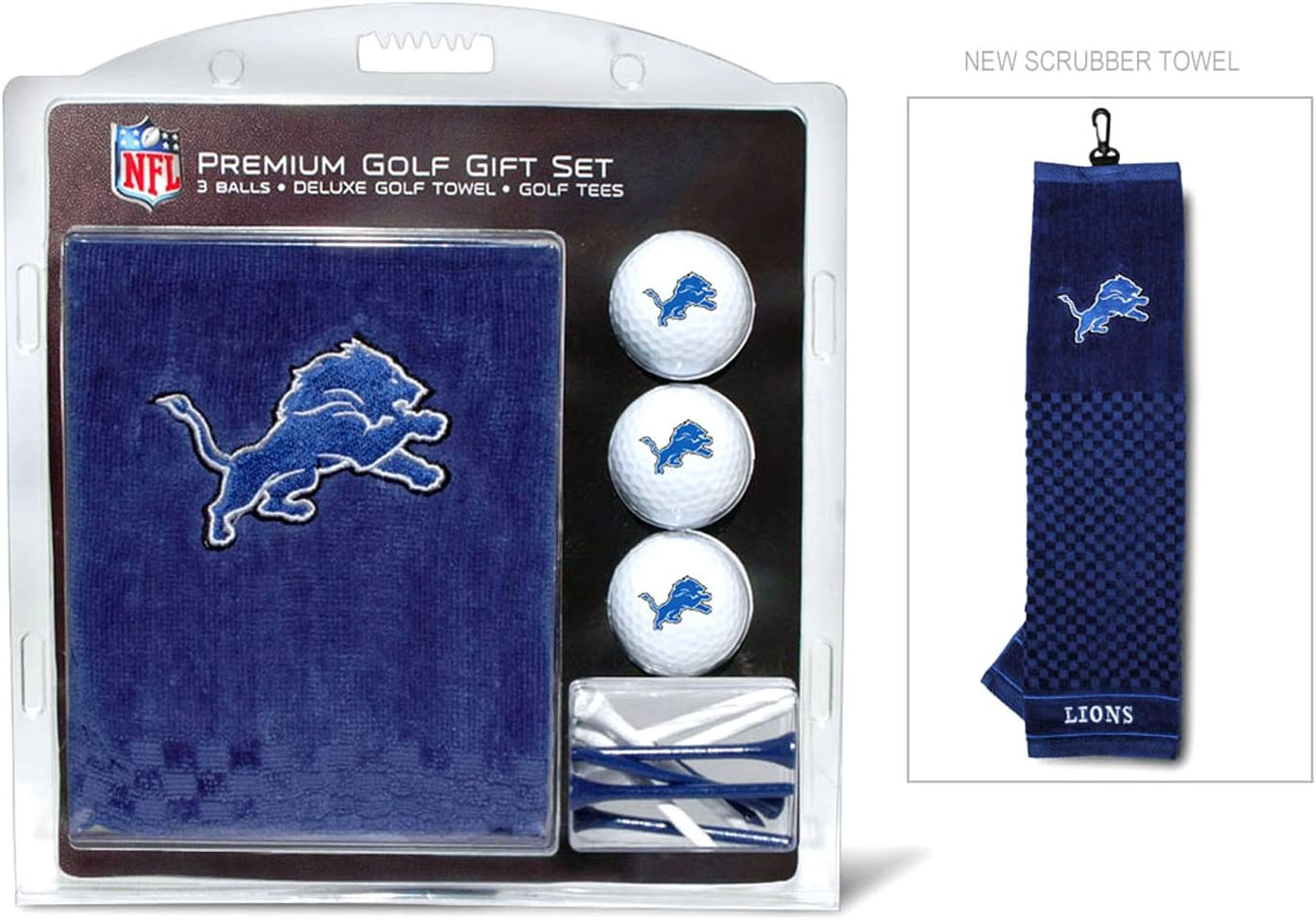 """Team Golf NFL Detroit Lions Gift Set Embroidered Golf Towel, 3 Golf Balls, and 14 Golf Tees 2-3/4"""" Regulation, Tri-Fold Towel 16"""" x 22"""" & 100% Cotton : Golf Accessories : Sports & Outdoors"""