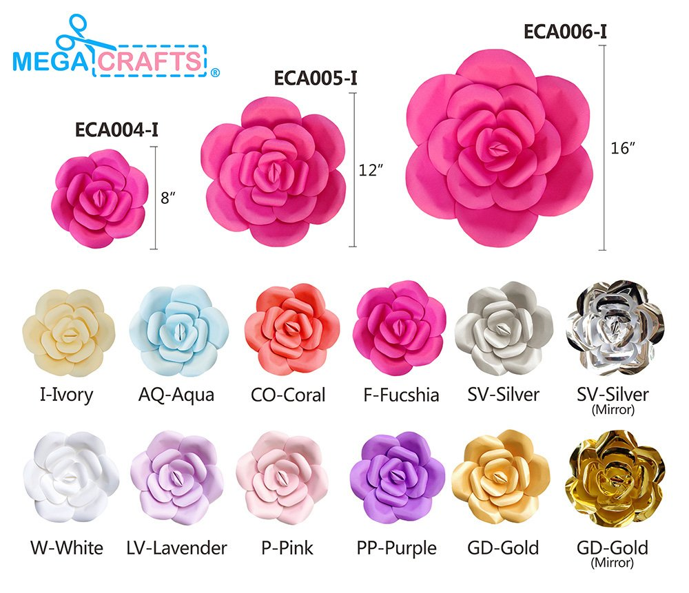 Garlands /& Parties Backdrop Wall Decoration for Home D/écor Mega Crafts 12 Handmade Paper Flower in Coral Table Centerpieces Wedding Bouquets /& Receptions Event Flower Planning