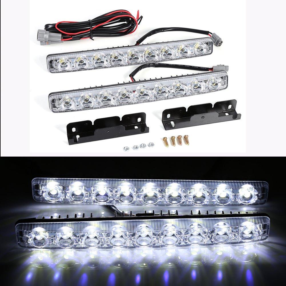 Qiilu 2pcs blanc 9-LED longue bande diurne feux de jour DRL voiture brouillard jour conduite lampe