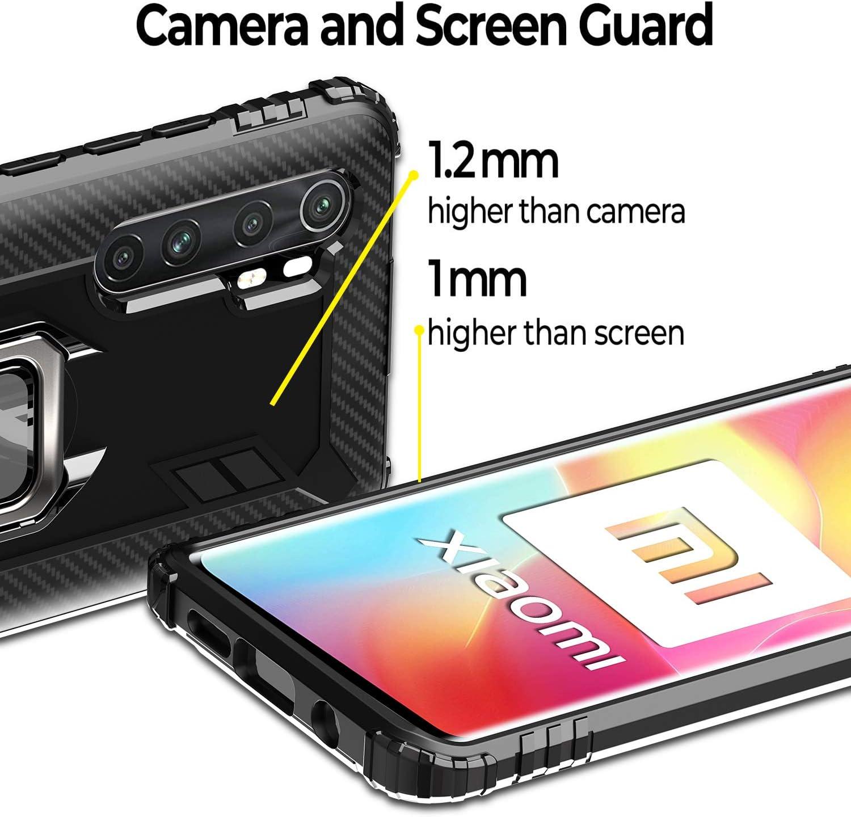 Milomdoi Carcasa para Xiaomi Mi Note 10 Lite Funda,【Anti-Colisi/ón】【Caso amistoso】 Carcasa con 360 Grados Anillo iman Soporte y Silicona TPU Anti Ca/ída Case para Xiaomi Mi Note 10 Lite-Negro