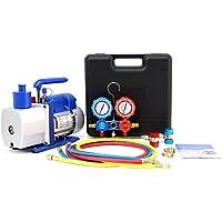 Orion Motor Tech 5CFM Vacuum Pump & Manifold Gauge Set   A/C HVAC Refrigeration Kit   Evacuation & Recharging   Diagnostic R134a R22 R410a