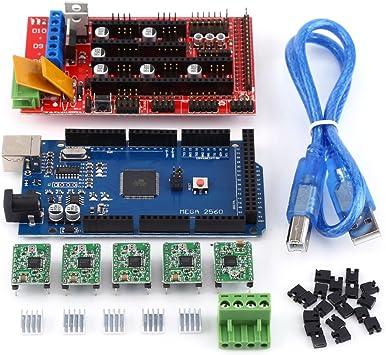 RAMPS 1.4 Regulador + MEGA2560 R3 Tablero + 5pcs Soldered A4988 Stepper Motor Drivers + 5pcs