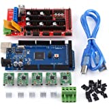 Walfront 1.4 Controller, MEGA2560 Board, Soldered Stepper Motor Drivers, Heat Sinks, Jumpers with USB Cable for Arduino RepRap 3D Printer Kit