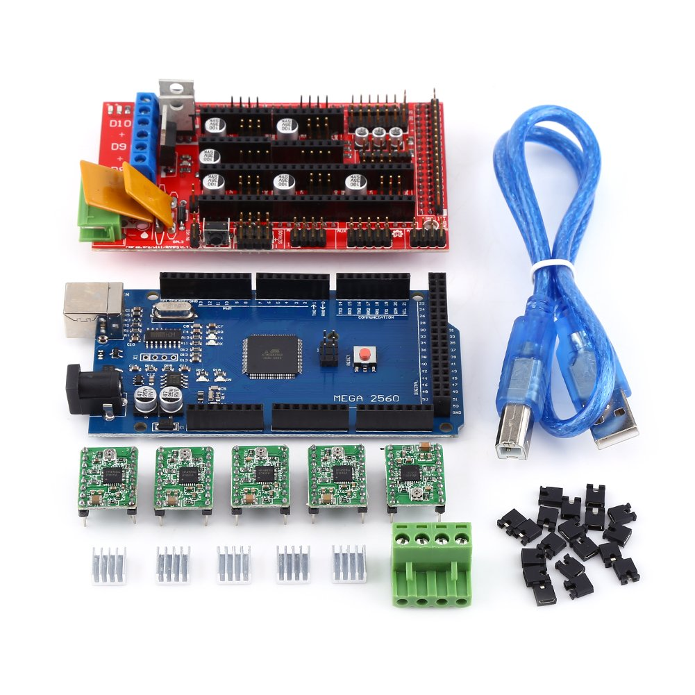 RAMPS 1.4, 3D Printer RAMPS 1.4 Controller + MEGA2560 R3 + A4988 With Heat Sink USB Calbe Jumper Kit Hilitand