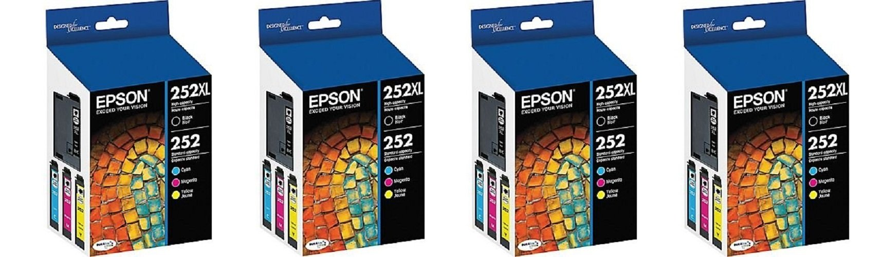 Epson T252XL-BCS Combo gGDFIC Pack, Black High Capacity and C/M/Y Standard Capacity Cartridges (4 Units)