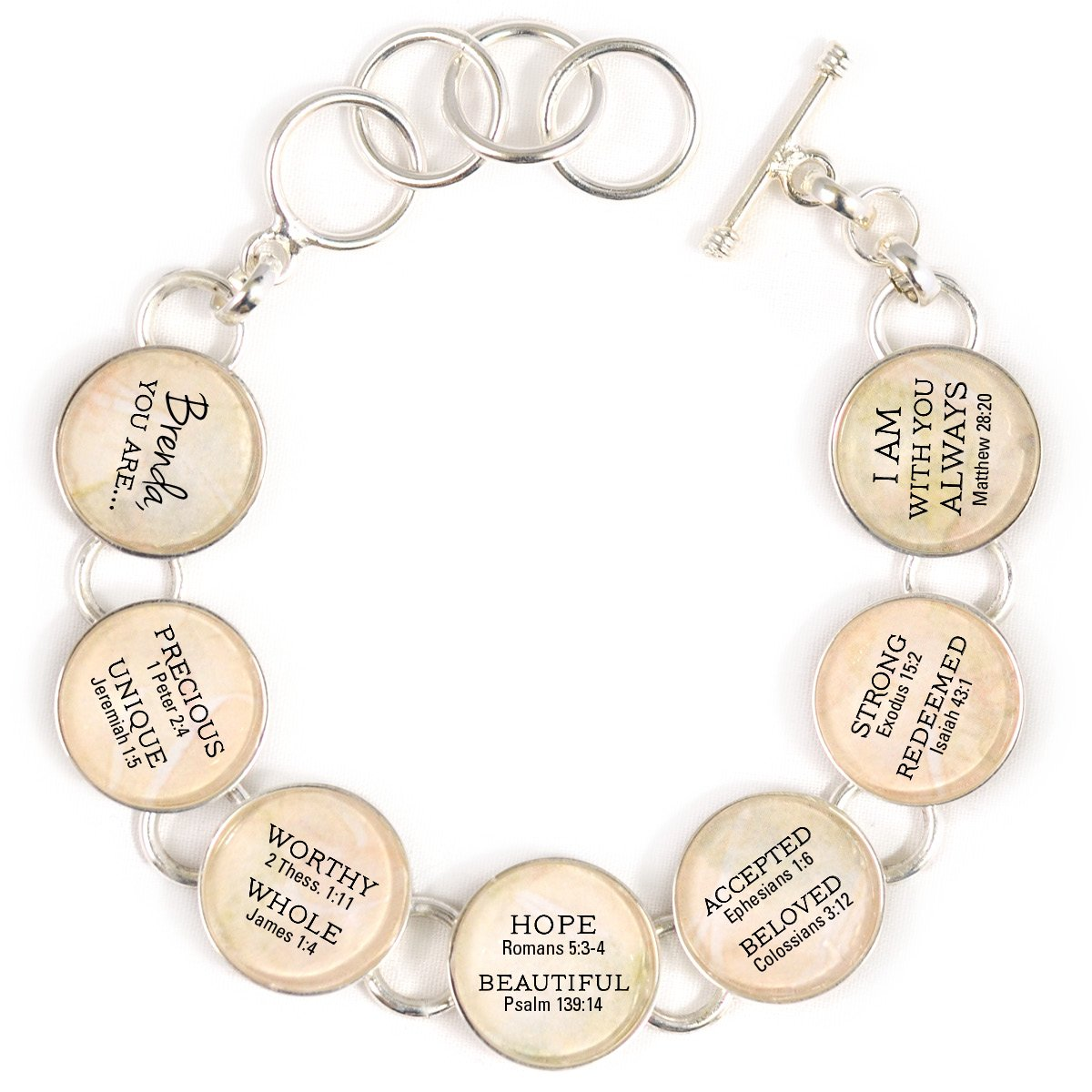 YOU ARE... Beautiful, Strong, Redeemed - Personalized Silver-Plated Scripture Charm Bracelet - 7 Charms, Large (7.5 - 8.5'')