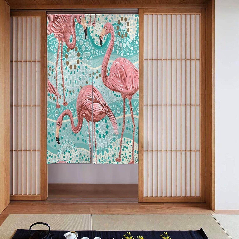 OcuteO Noren Doorway Curtain Pink Flamingo Bird Floral On Turquoise Dots Japanese Noren Doorway Curtain Long Tapestry Door Curtains Decor Dividers for Home Kitchen Bedroom Bathroom Living Room Office
