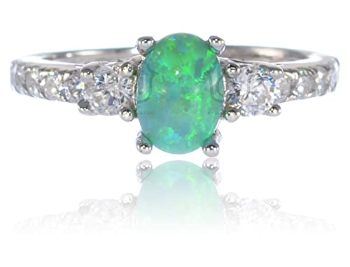 Bijoux Central Oval Simulated Green Fire Opal and Round Cz Ring Sterling Silver