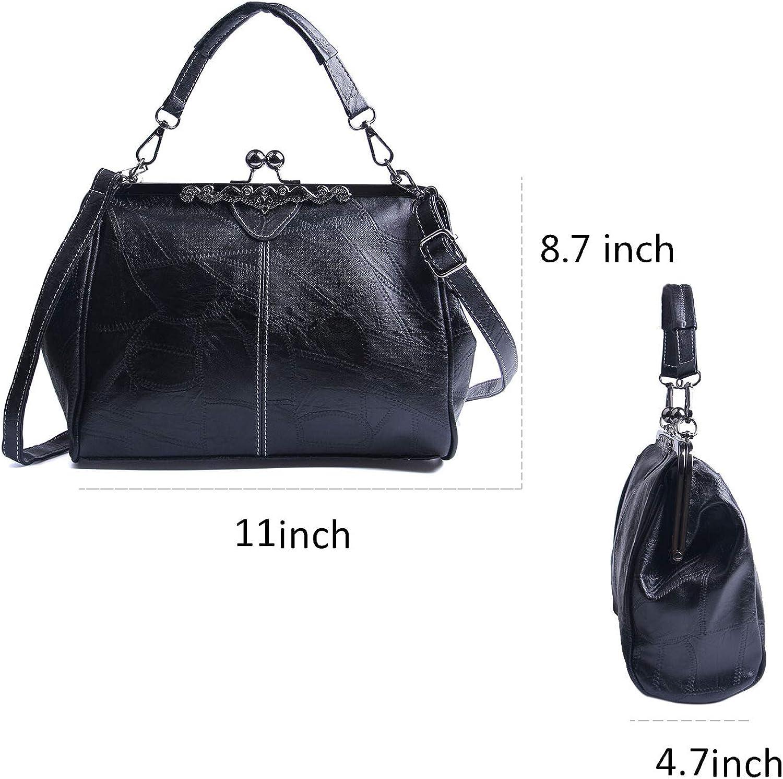 Kuang Women Retro Kiss Lock Handbags PU Leather Vintage Top Handle Crossbody Purse Tote Bag