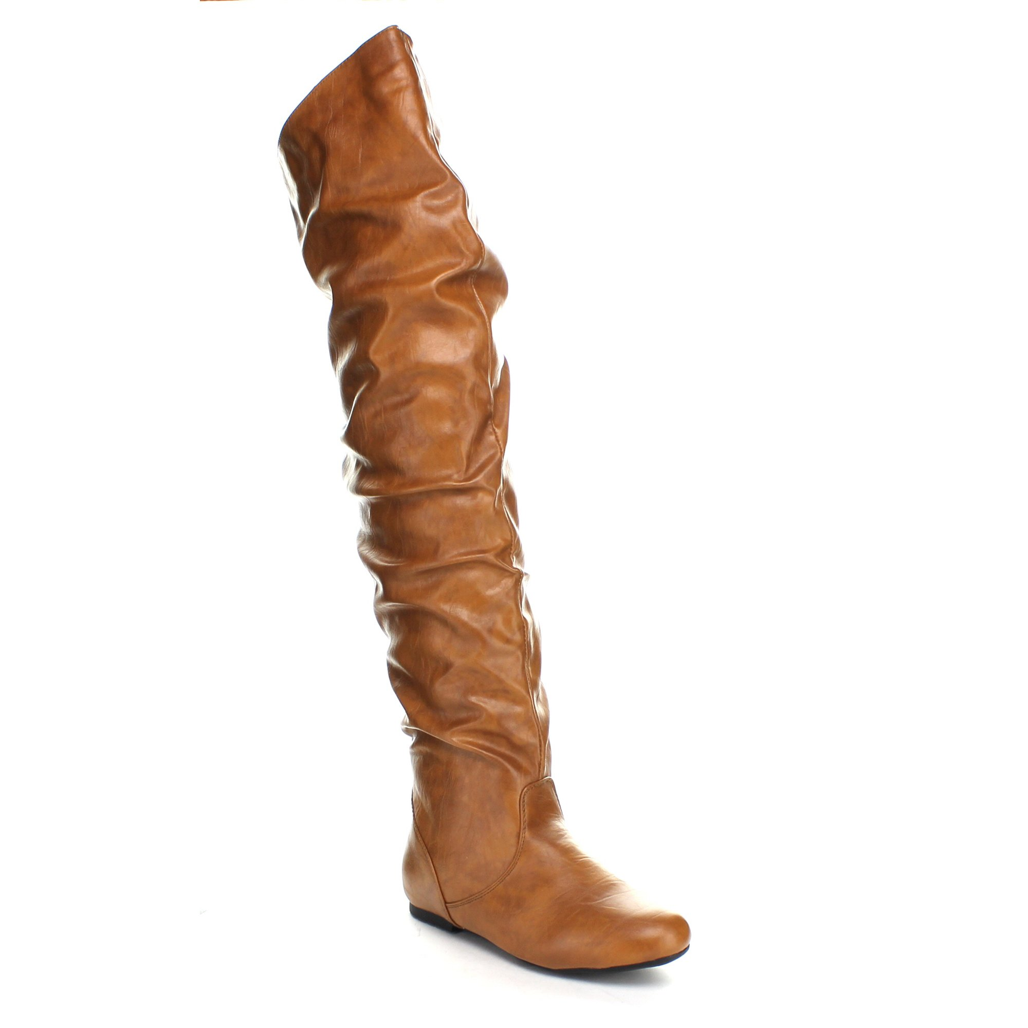 Top Moda JL-21 Women's Over The Knee Slouch Boots, Tan 5.5