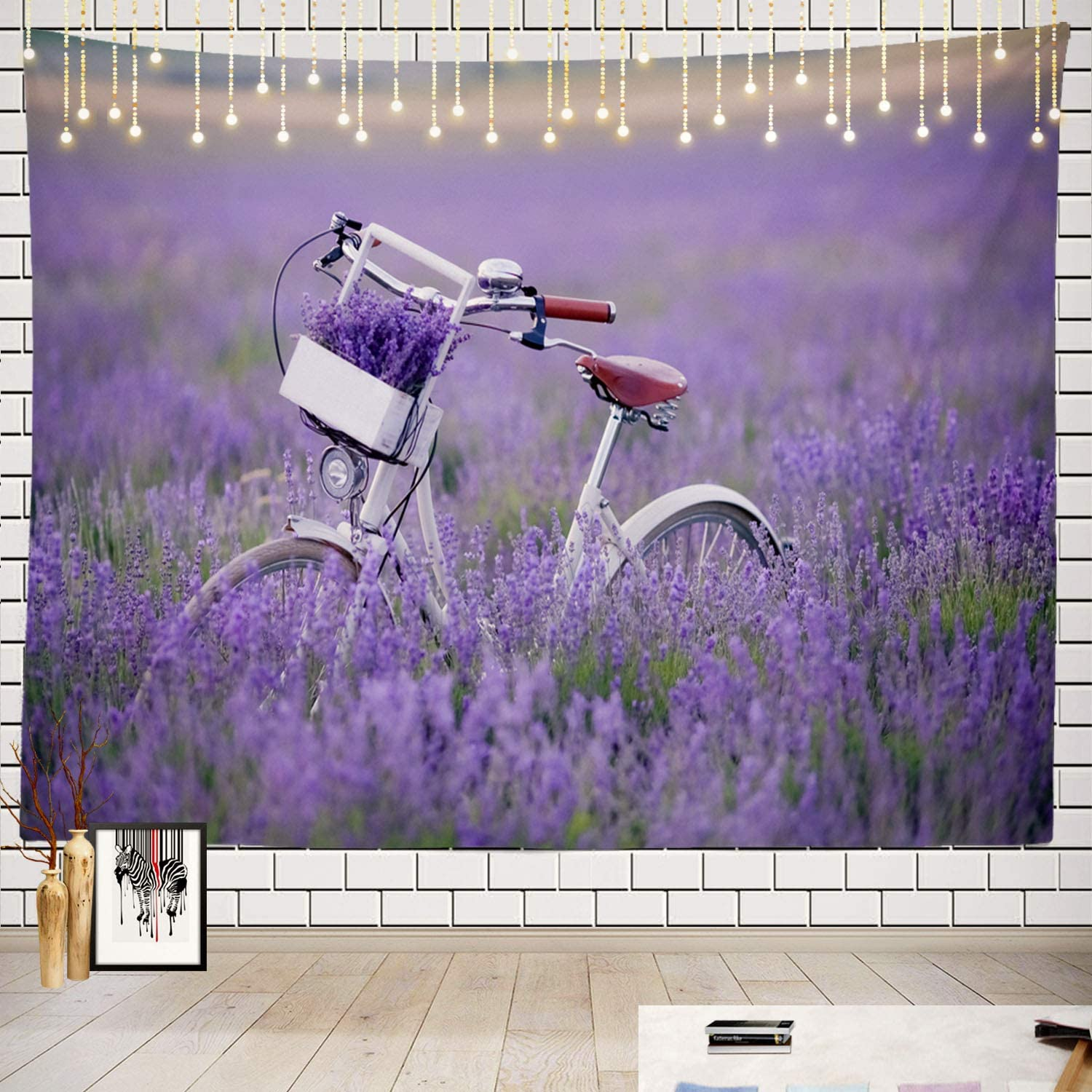 Batmerry Lavender Retro Tapestry, Lavender Field Retro Bike Agriculture Picnic Mat Hippie Trippy Tapestry Wall Art Meditation Decor for Bedroom Living Room Dorm, 51.2 x 59.1 Inches, Lavender