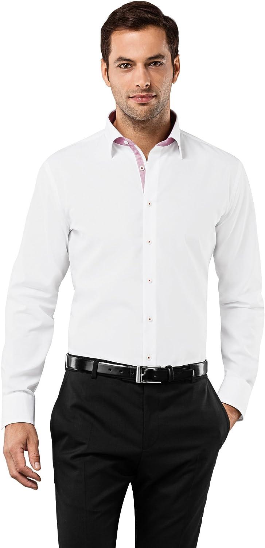Cuello Kent 100/% algod/ón no Necesita Plancha Manga-Larga Lisa Slim-fit Vincenzo Boretti Camisa de Hombre Ajustada Entallada