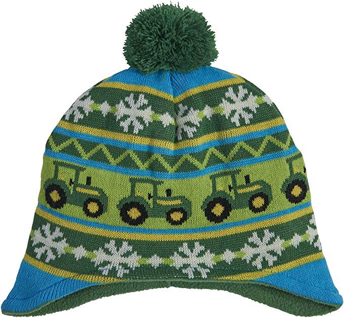 Green//Yellow Toddler John Deere Boys Little Winter Hat