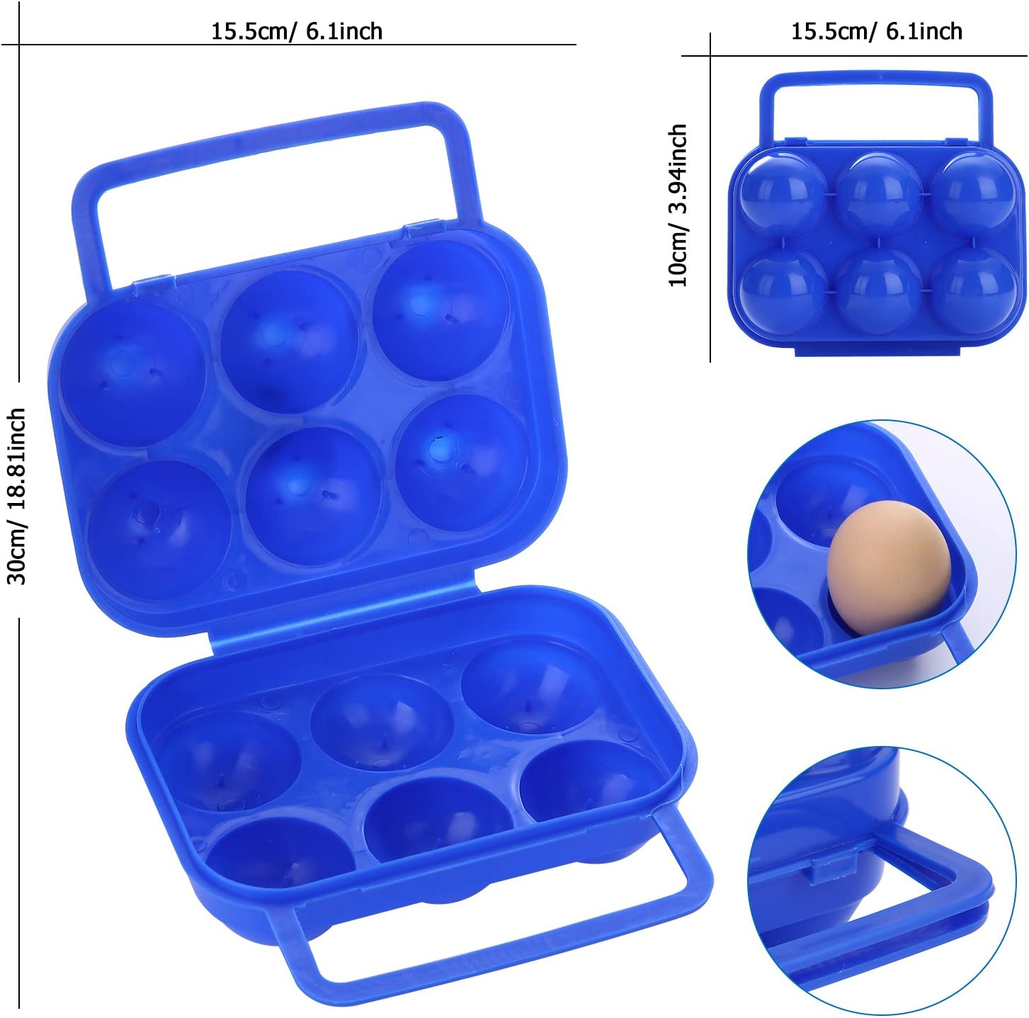 Blue Plastic Portable Eggs Carrier Camping Protector Egg Storage Travel Backpack Container Hard Boiled Egg Storage with Handle for Outdoor Camping Storage FUBARBAR Christmas Matching 6 Egg Holder