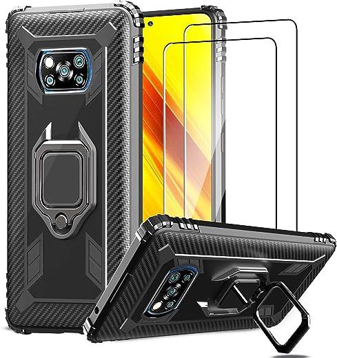 IMBZBK Funda para Xiaomi Poco X3 NFC + [2 Pack] Protector Pantalla Xiaomi Poco X3 NFC Cristal Templado, [Soporte Giratorio de 360 Grados con Anillo de Dedo][Grado Militar Anti-Golpe] TPU Silicona