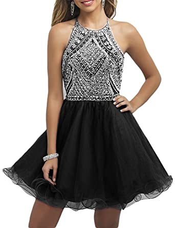 a13e5f5ae04 OYISHA Women s Short Tulle Halter Prom Homecoming Dress Beaded A-Line  Cocktail Party Dress Black