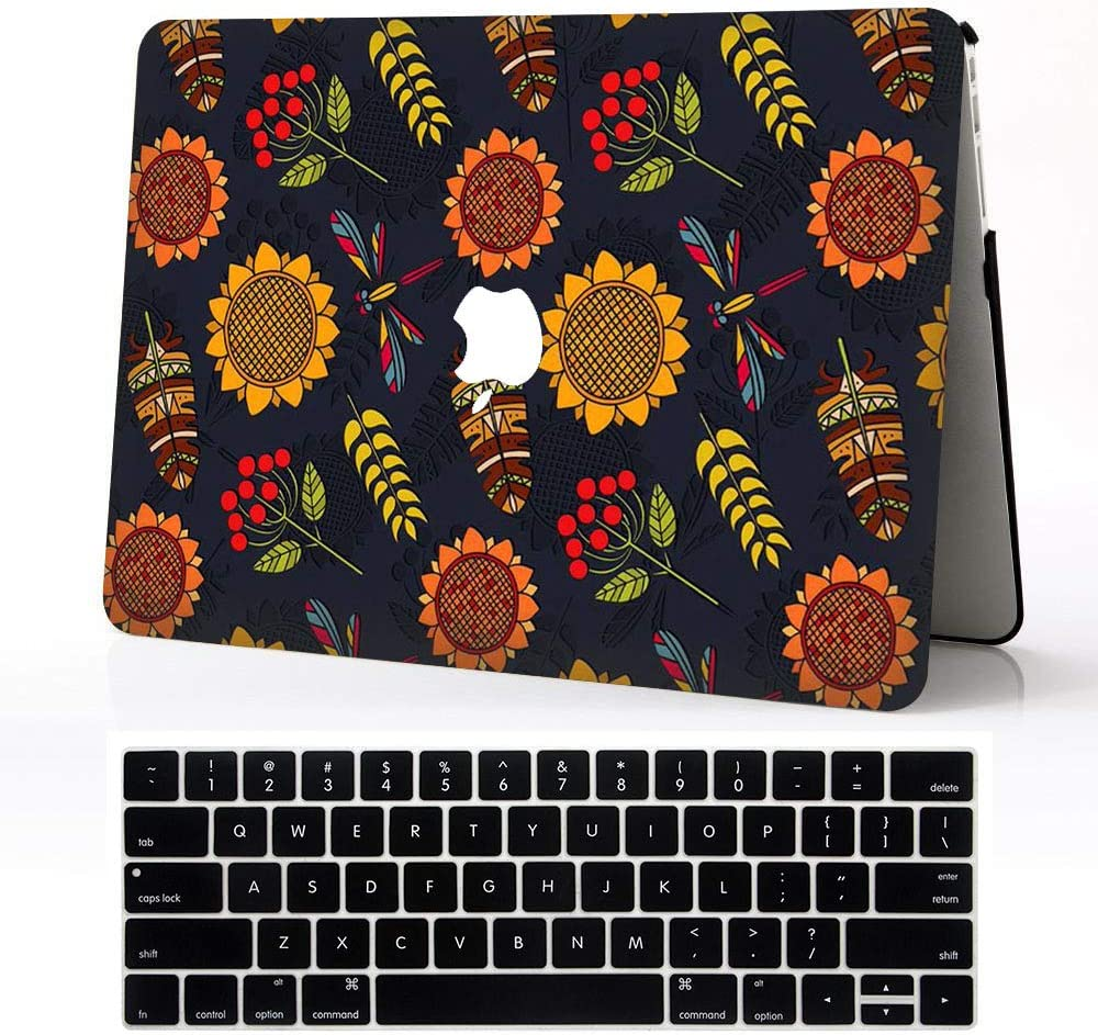 BERYLX Laptop Cases for Macbook Air 13,Blue White Flower Map ...