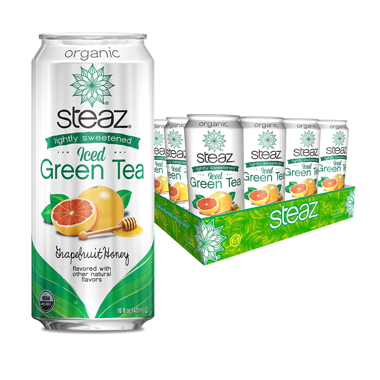 Steaz Organic Iced Green Tea, Lightly Sweetened Grapefruit Honey, 16 Ounce (Pack of 12)