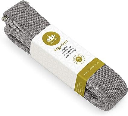Lotuscrafts Yoga Cinturon Algodon - 100% Algodon (Cultivo Biológico) - Correa Yoga Algodon para Mejores Estiramientos - Cinturón de Yoga con Cierre de Metal - Yoga Strap Belt [250 x 3,8 cm]: Amazon.es: Deportes y aire libre
