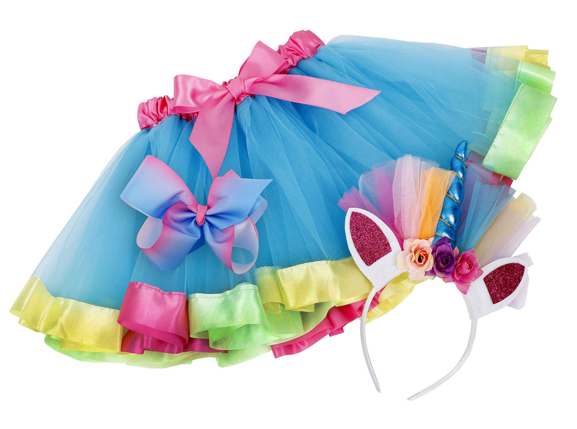 Simplicity Girls Rainbow Layered Tulle Tutu Skirt with Unicorn Headband & Hair Bow 3