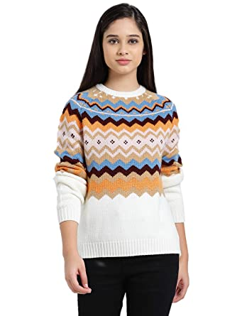 0d80ba71f Zink London Multi-Coloured Polyester Aztec Design Raglan Sweater Top for  Women (Small)