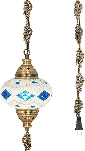 20 Colors DEMMEX 2019 Swag Plug in Turkish Moroccan Mosaic Ceiling Hanging Light Lamp Chandelier Pendant Fixture Lantern, Hardwired OR Plug in with 15feet Cord Chain Plug in
