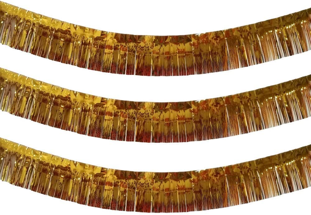 3 Pack | Gold Metallic Foil Tinsel Fringe Garland | Long Banner | 9 feet by 12 inches | for Parties, Wedding Decor, Birthdays, Holiday Decorations and Much More