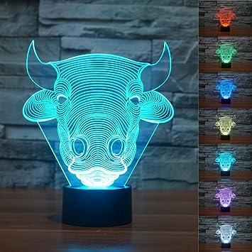 Amazon.com: superniudb 3d novedad 3d Toro Vaca 3d Lámparas ...