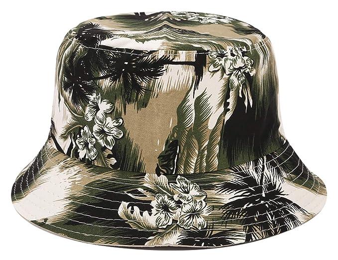 f9860298 Floral Print Bucket Hat Hawaii Tropical Pattern Fisherman Cap Coconut Tree  Reversible Packable Sun Hats (