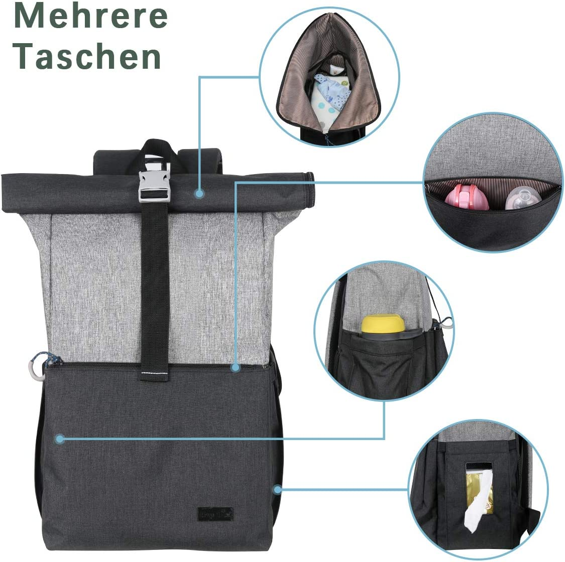 K-2006DG Large Double Deck Nappy Changing Back Pack Diaper Bags Lightweight Hap Tim Baby Changing Bag Backpack Roll top for Mom /& Dad