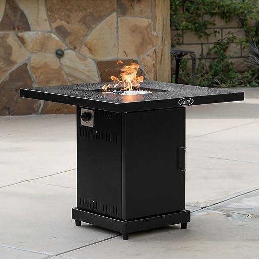 Belleze - Mesa con quemador de gas para exterior, 40.000 BTU (10.086 kcal), estufa para patio con juego de cristal ignífugo: Amazon.es: Jardín