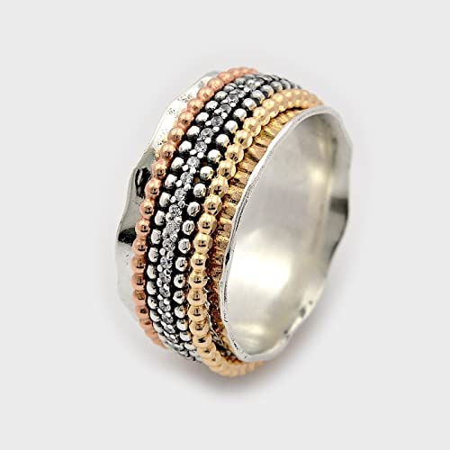 b30ea2afa Amazon.com: Multi color CZ spinner ring Silver and gold spinning stones band  size 6 to 9: Handmade