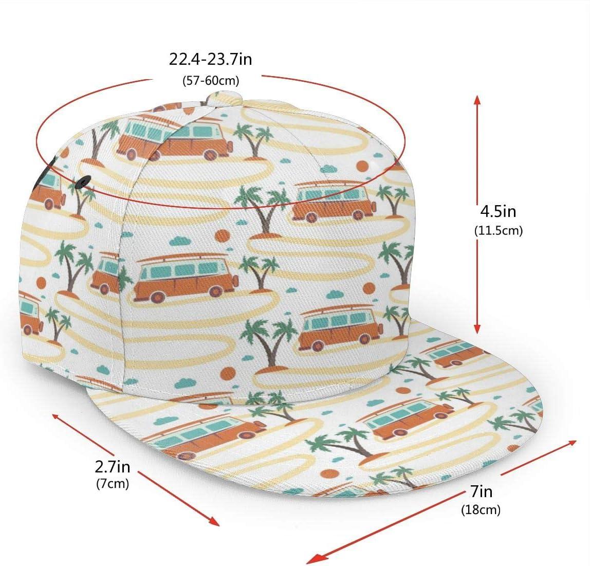 antkondnm Retro Bus with Surfboard Flat Brim Baseball Cap Snapback for Men Women Trucker Hat