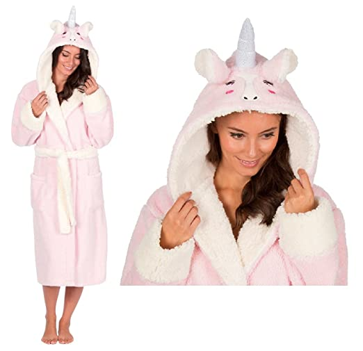 Ladies Snuggle Fleece Dressing Gown with Novelty Unicorn Hood (XL)