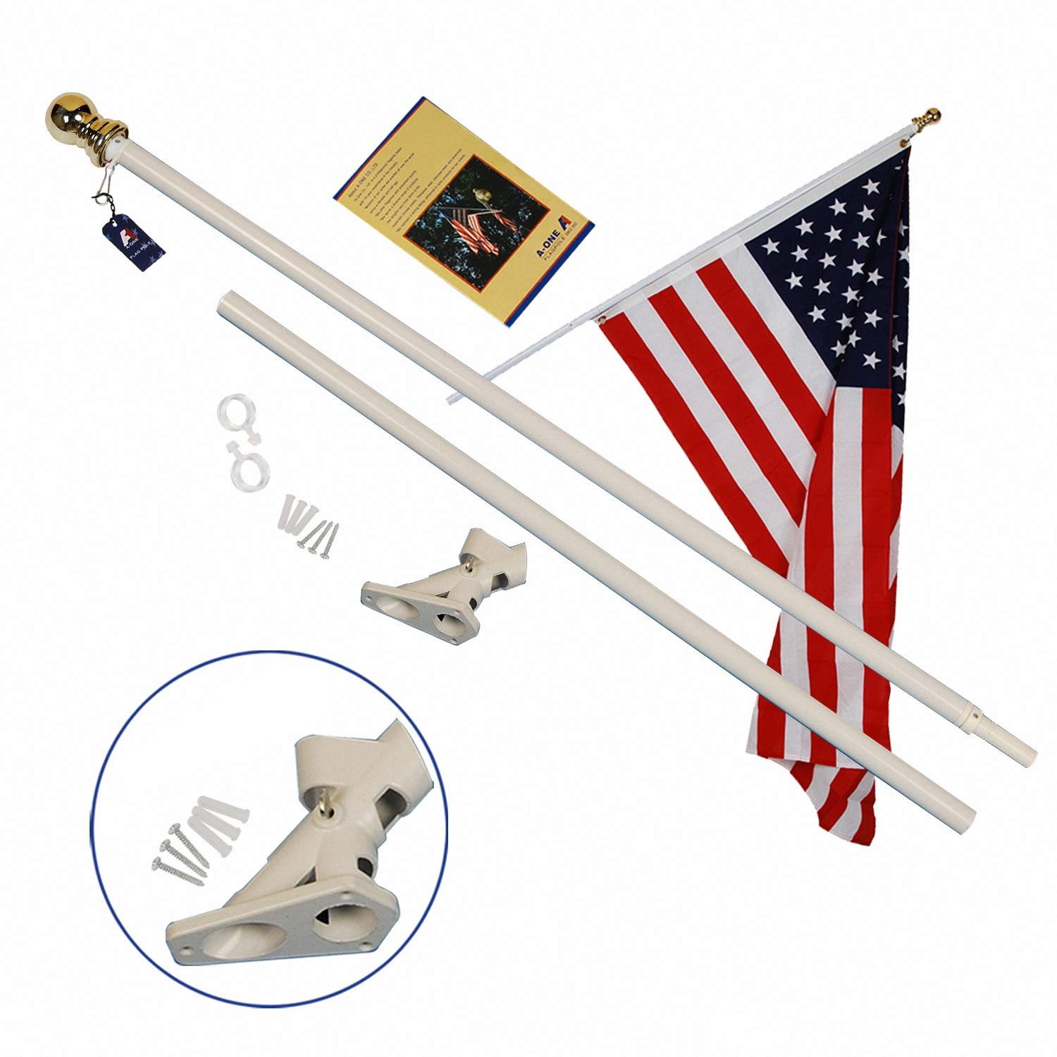 A-One 6Ft Tangle Free Spinning Flag Pole, Deluxe Aluminum American US FlagPole Kit with Stainless Steel Rust Prevention Clip and Free Bracket for Outdoor Residential or Commercial Wall Mount, White