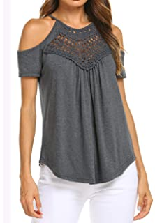 a136d59bc3cea Women s Summer Short Sleeve Lace Off Shoulder Tops Casual Loose Blouse  Basic Tee Shirts
