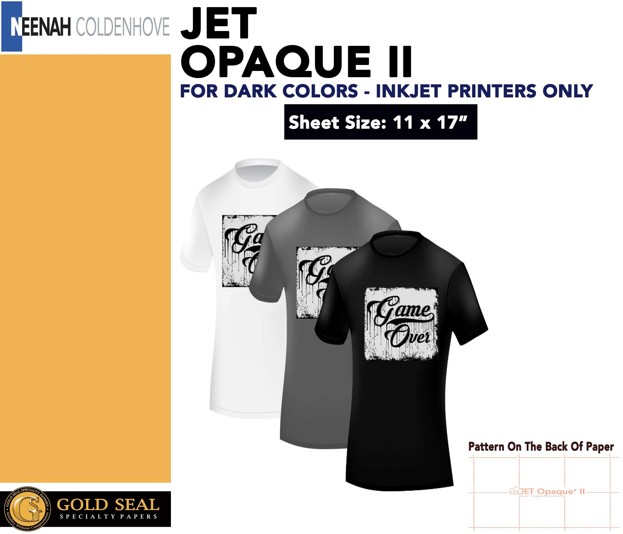 IRON ON HEAT TRANSFER PAPER JET OPAQUE II 11 x 17'' CUSTOM PACK 50 SHEETS by Neenah