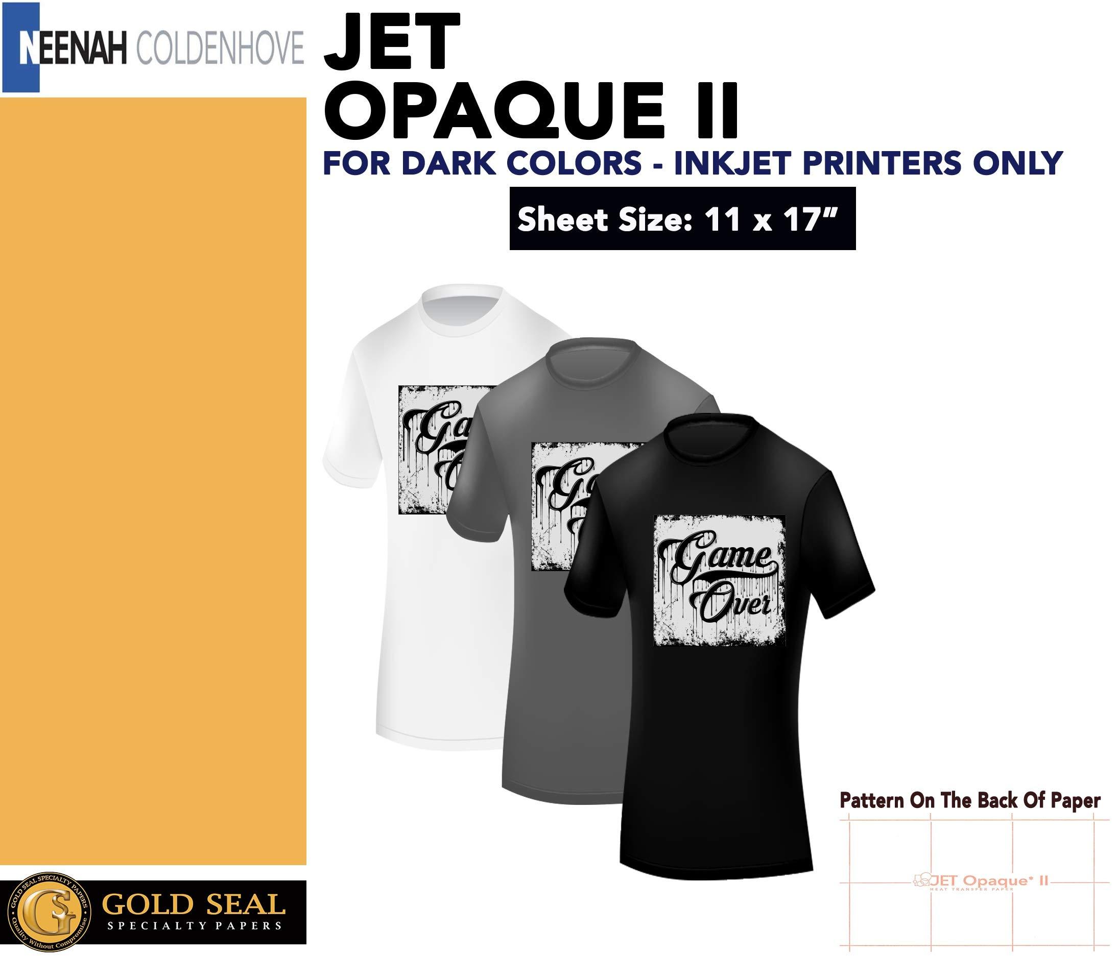 JET-OPAQUE II HEAT TRANSFER PAPER 11 x 17'' CUSTOM PACK 100 SHEETS by NEENAH PAPER; JET-PRO SS; JETPRO SOFSTRETCH