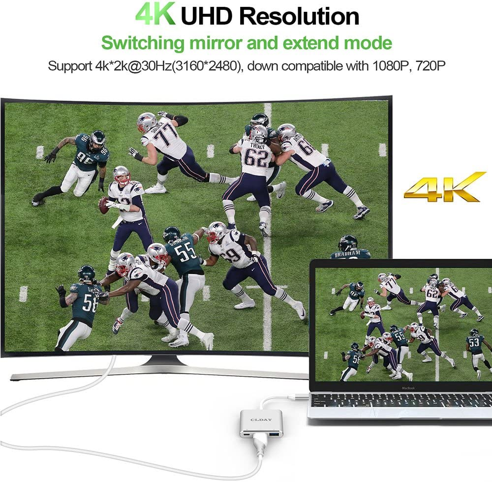USB-C to HDMI Adapter 4K CLDAY USB Type C to HDMI Multiport AV Converter 3-in-1 with USB 3.0 Port and USB-C Fast Charging Port Compatible MacBook Pro iPad Pro 2018// Samsung S8// S9// S10 Dell and more