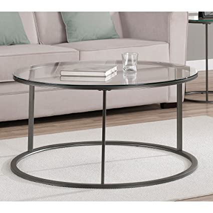 Round Glass Top Metal Coffee Table A Tempered Glass Top And A  Scratch Resistant Powder