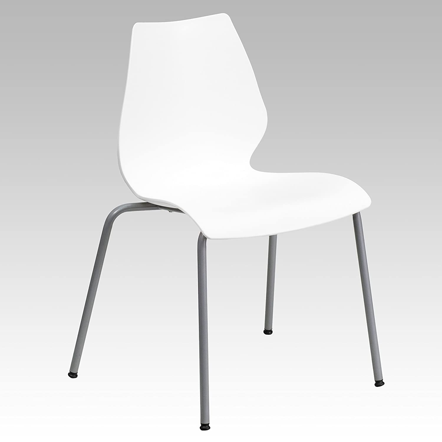 Flash Furniture HERCULES Series 770 lb. Capacity White Stack Chair with Lumbar Support and Silver Frame